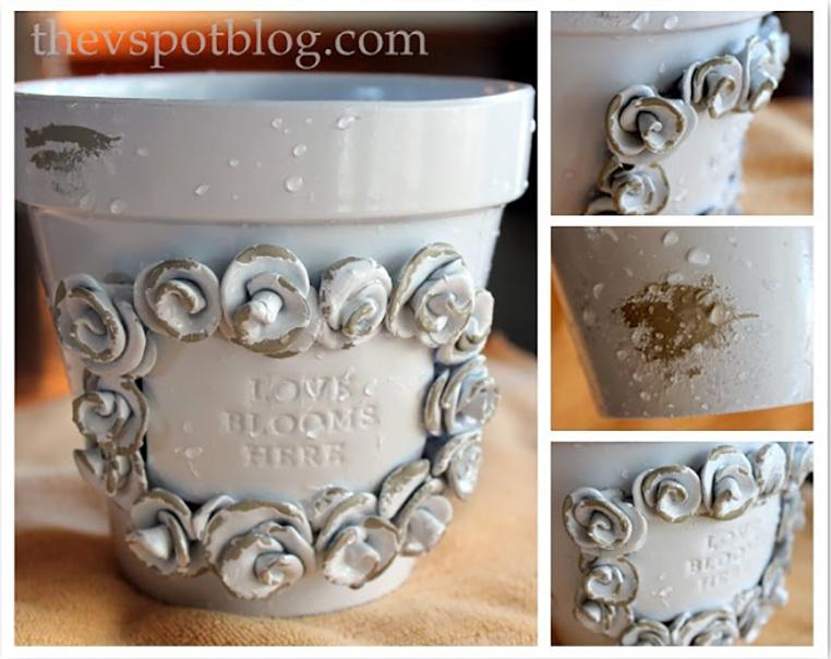 Softly Sprayed Shabby Plant Pot