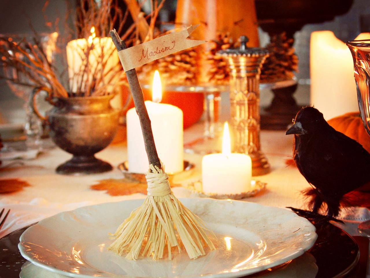 Halloween food table decorations - 20 Witch S Broom Nameplates
