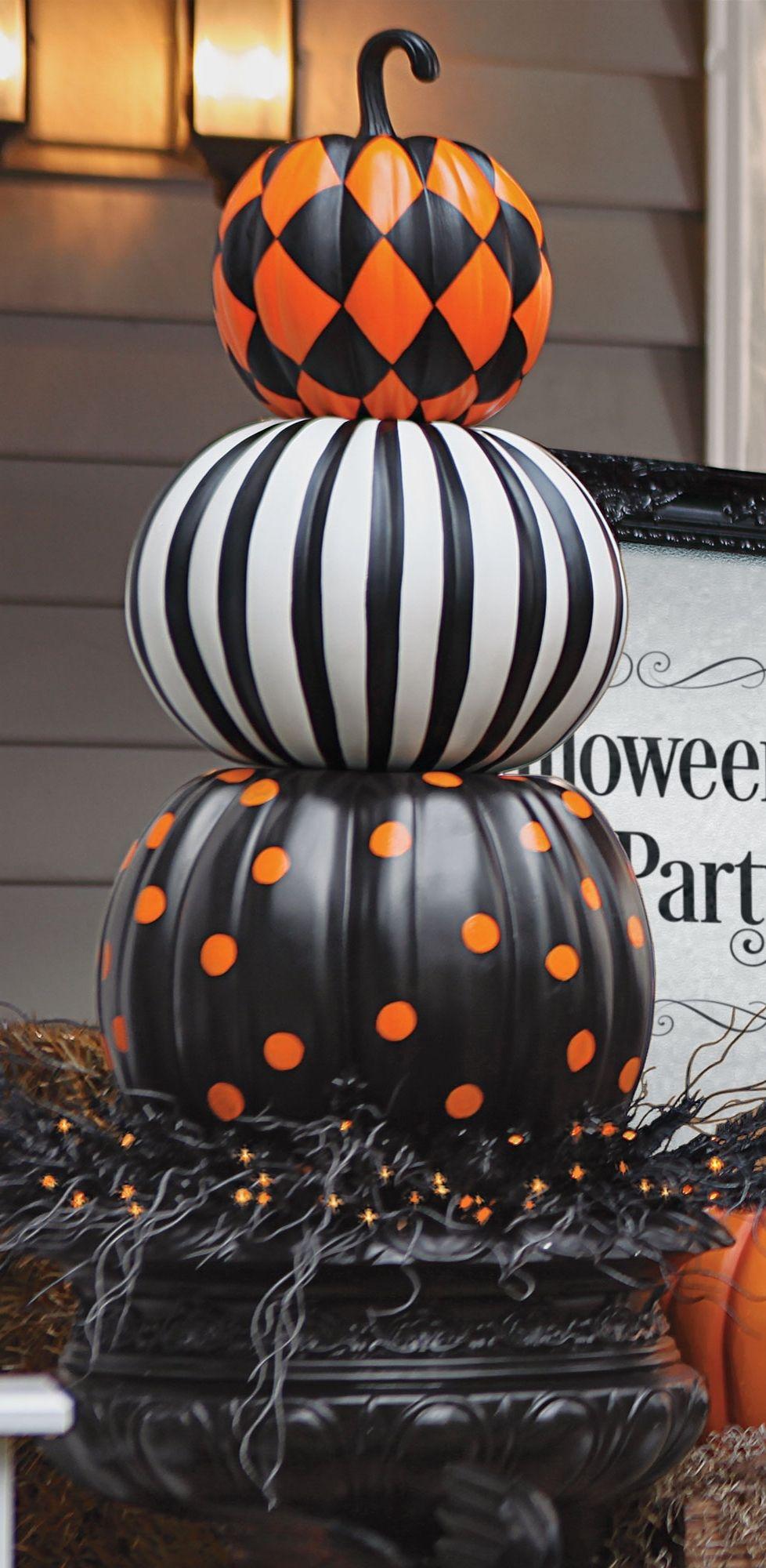 21 harlequin stripes and dots stack - Pumpkin Decoration