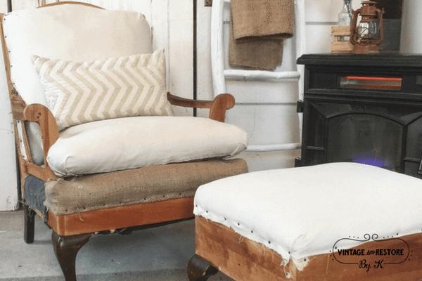 Worn Wood Chair and Ottoman Set