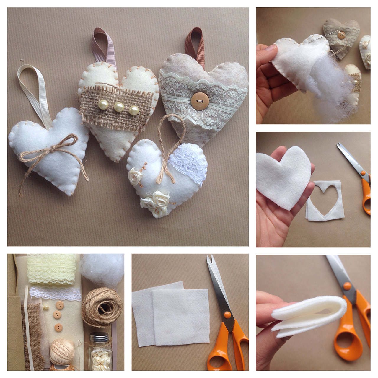 Lace and Burlap Heart Ornaments