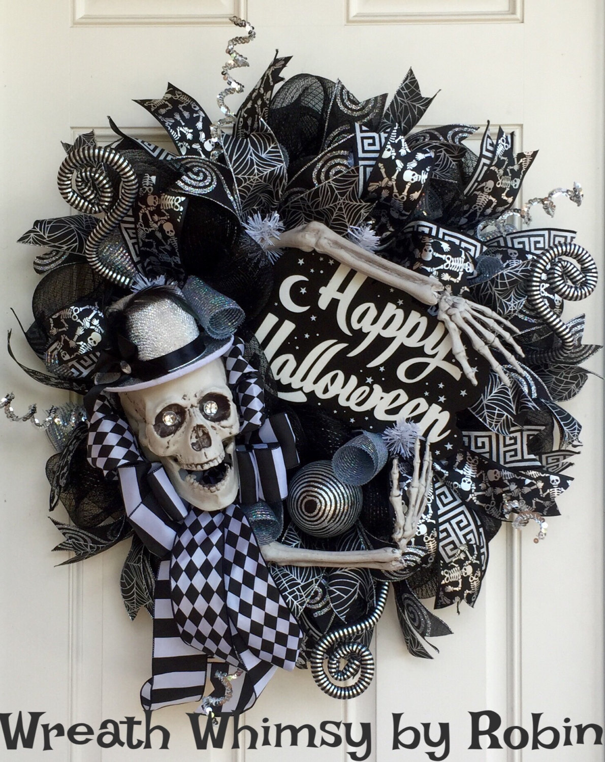 Black and White Skeleton Wreath