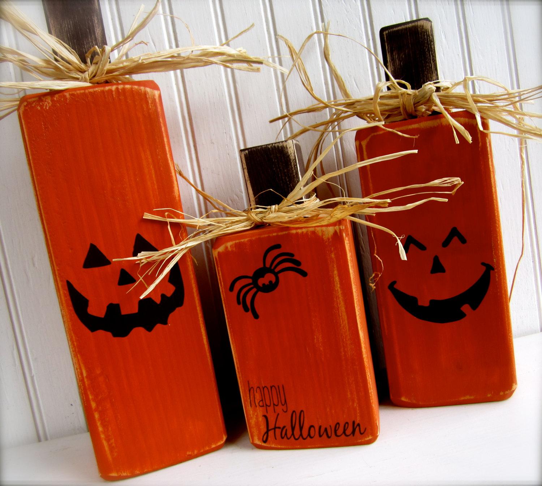 Happy Halloween Wooden Pumpkins
