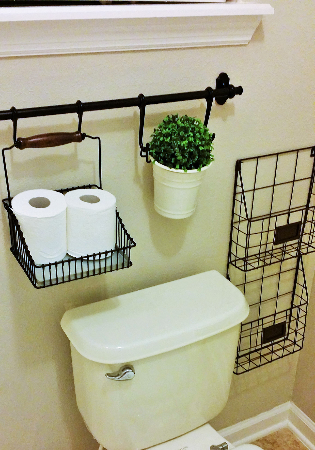 2 wall mounted wire storage baskets