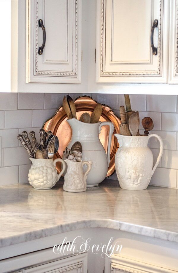 Classic Ironstone Pitchers and Copper Serving Tray