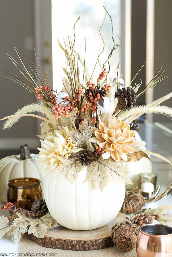 Elegant Dried Flower Arrangement in White Pumpkin Vase
