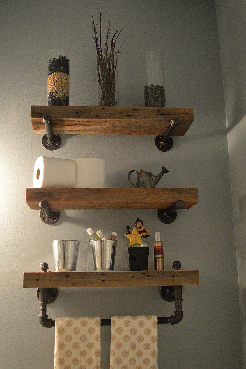 3 heavy plank shelves with industrial hardware