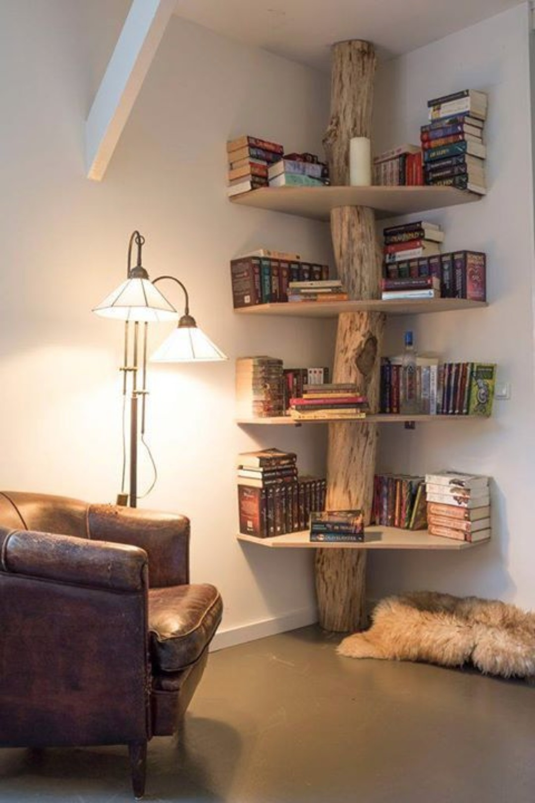 5. Corner Bookcase for a Hobbit Hole