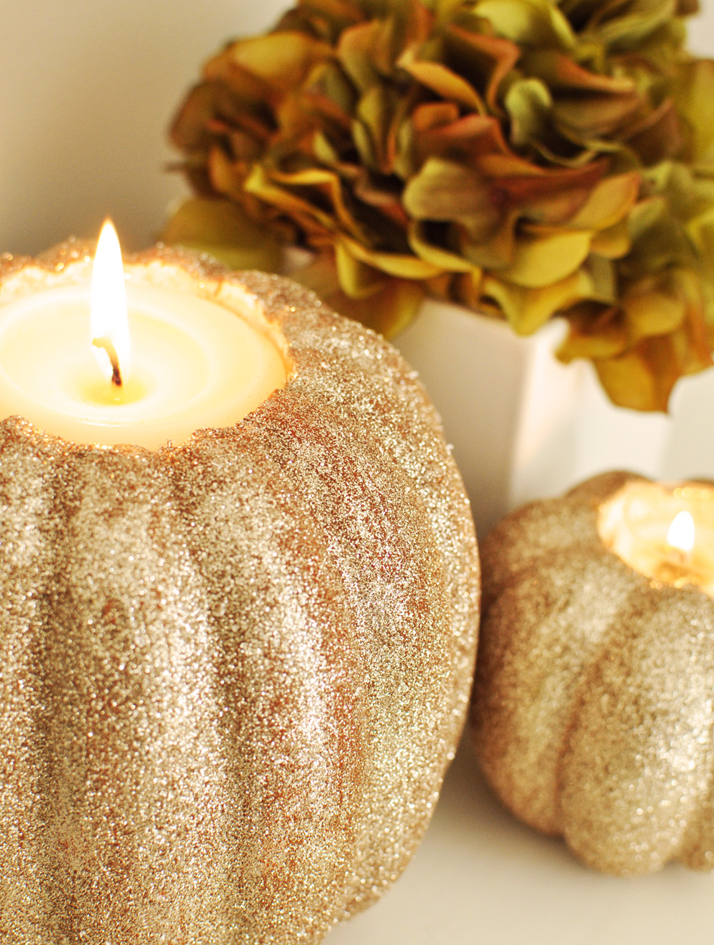 Glittering Golden Pumpkin Candle Holders