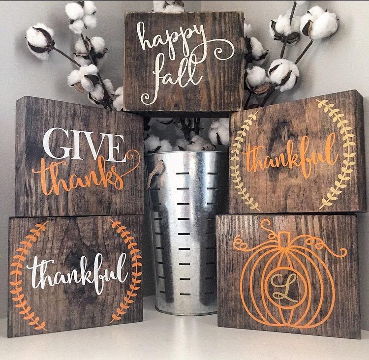 Customized Fall Wood Block Set
