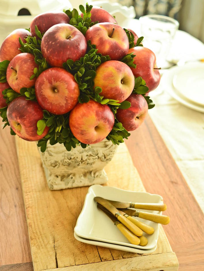 Country Chic Apple and Boxwood Topiary