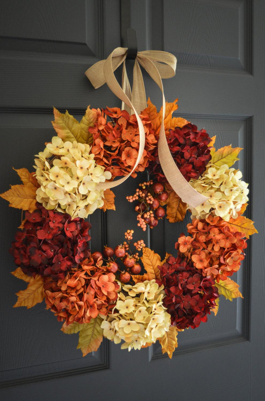 Beautiful Fall Hydrangea Wreath