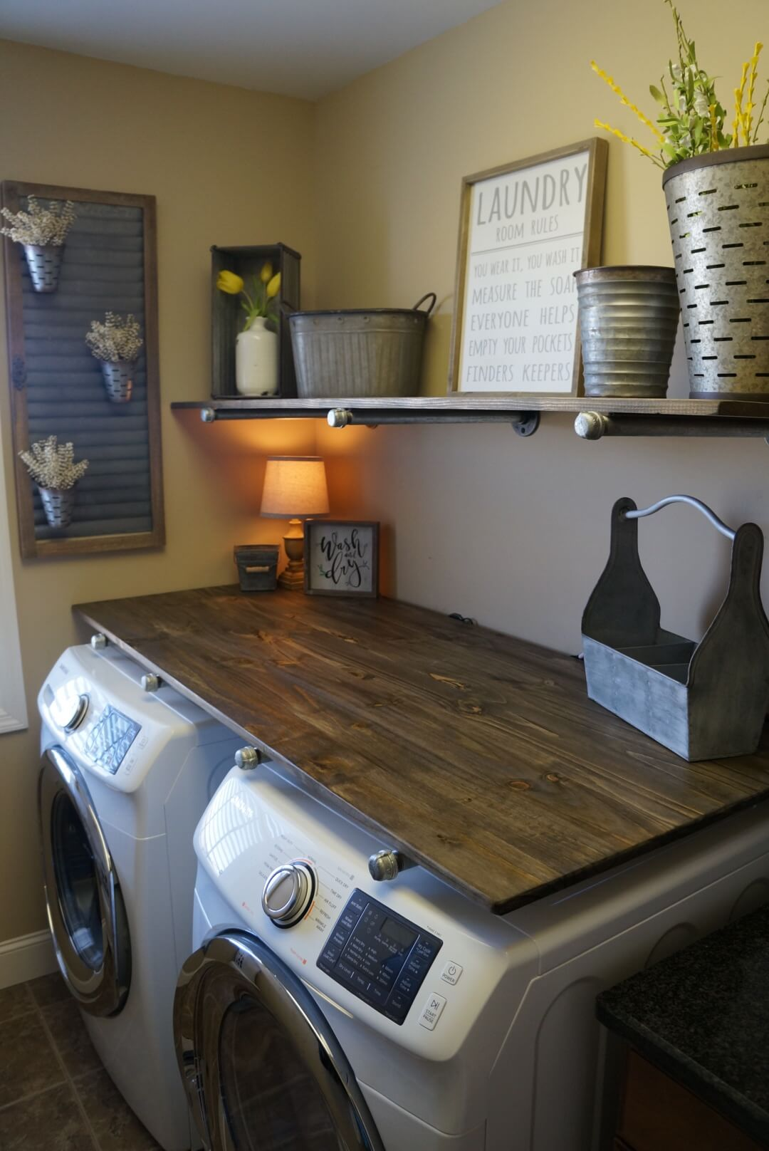 Industrial Pipe Shelves Laundry Room Storage