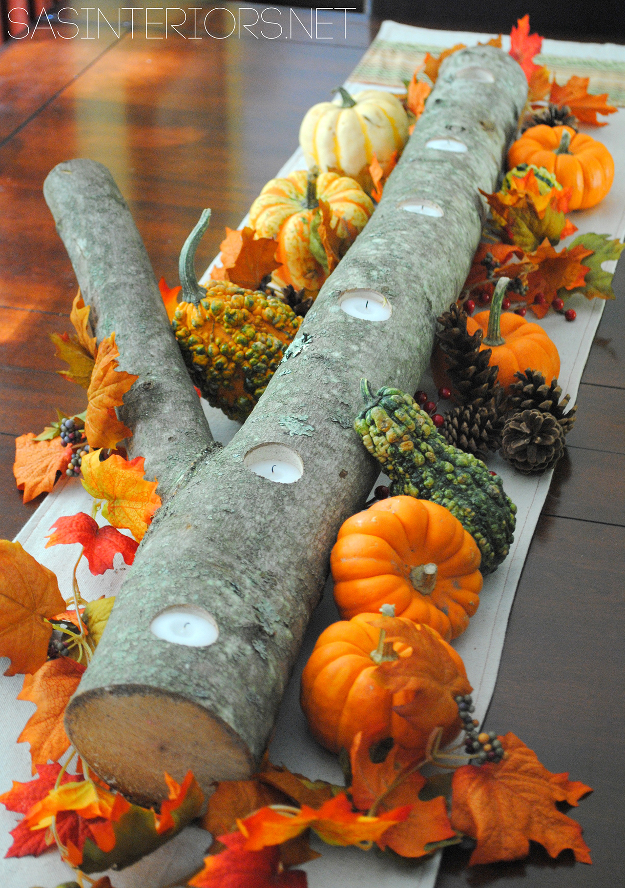 Tree Limb Votive Holder with Festive Gourds