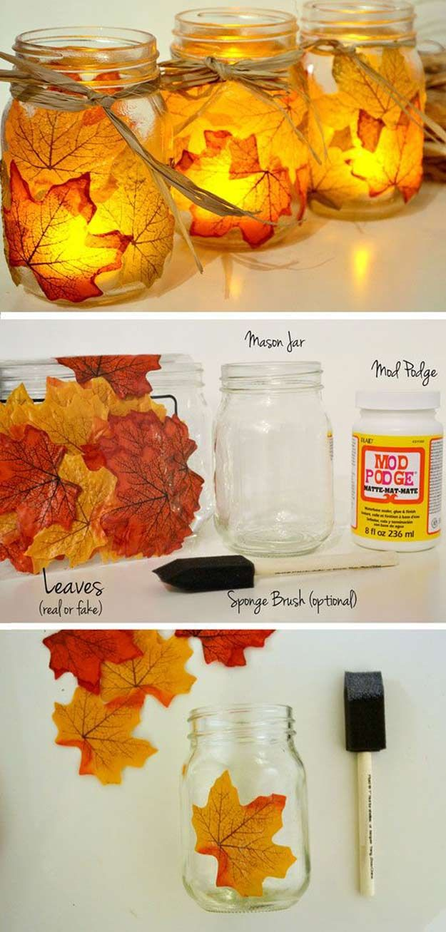 8 glowing leaf jars add a magical effect - Diy Fall Decor