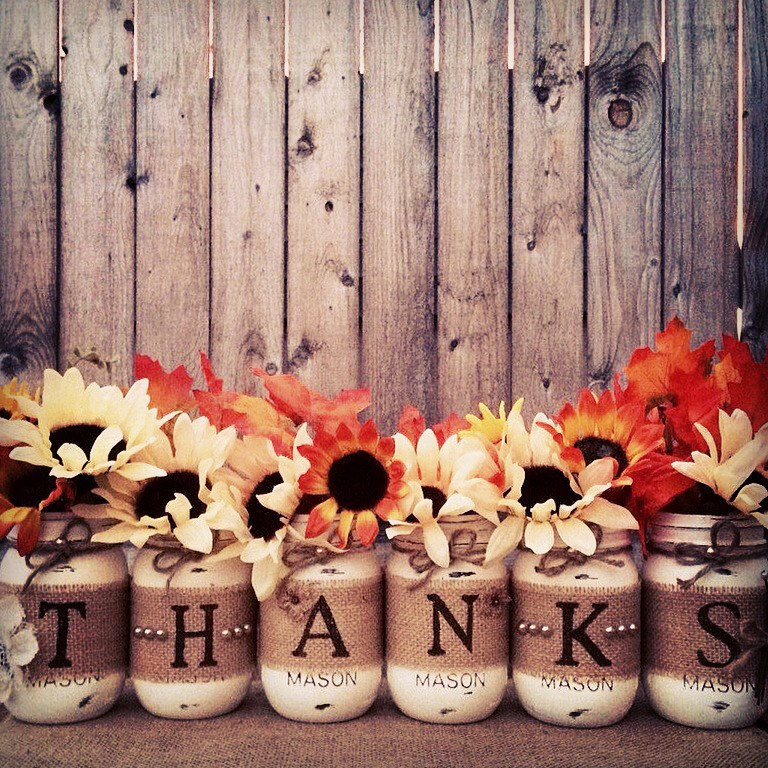 Set of 6 'Thanks' Mason Jars
