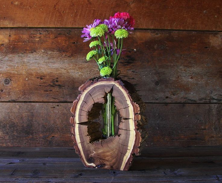 Hallowed Out Wooden Vase