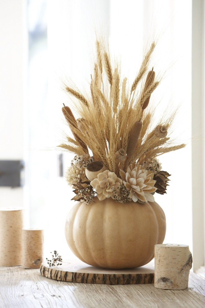 Monochrome Ivory Floral Arrangement in Pumpkin Vase