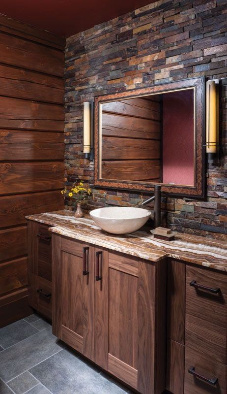 10 slate mosaic accent wall - Rustic Bathroom