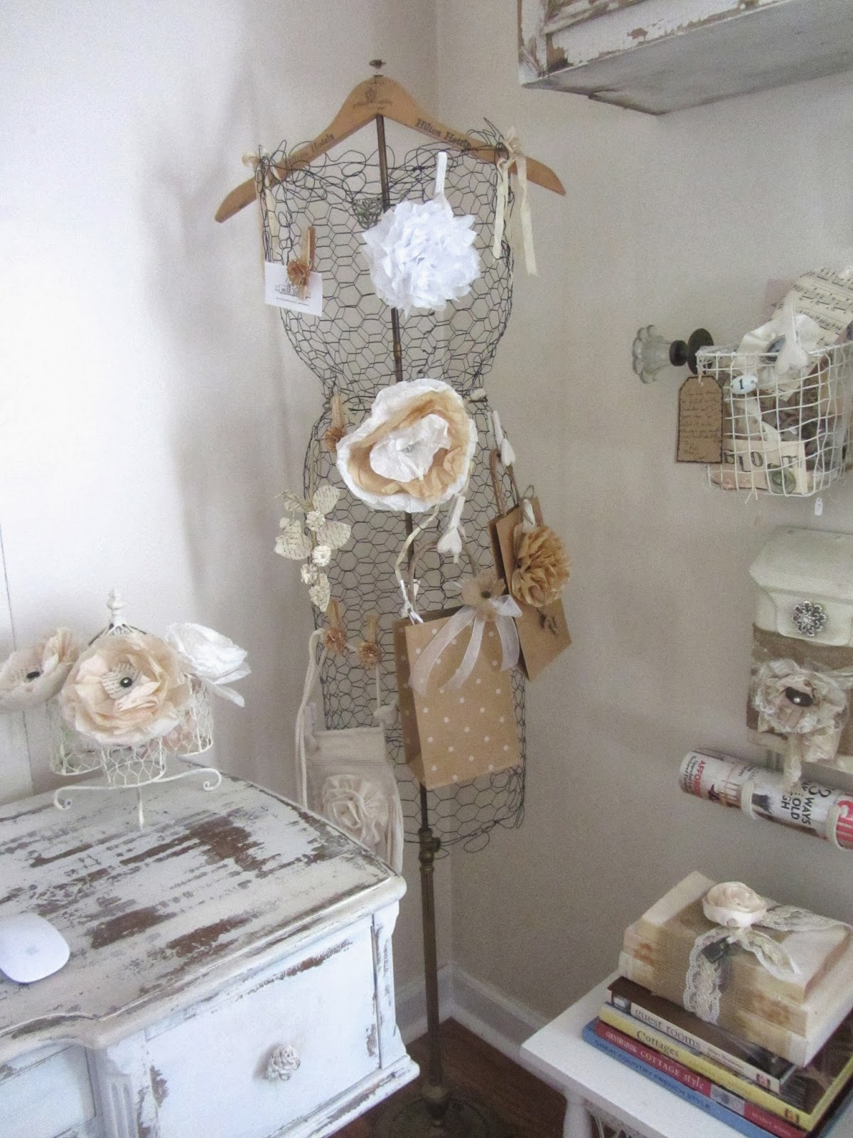Chicken-wire and Vintage Hanger Dress Form Display