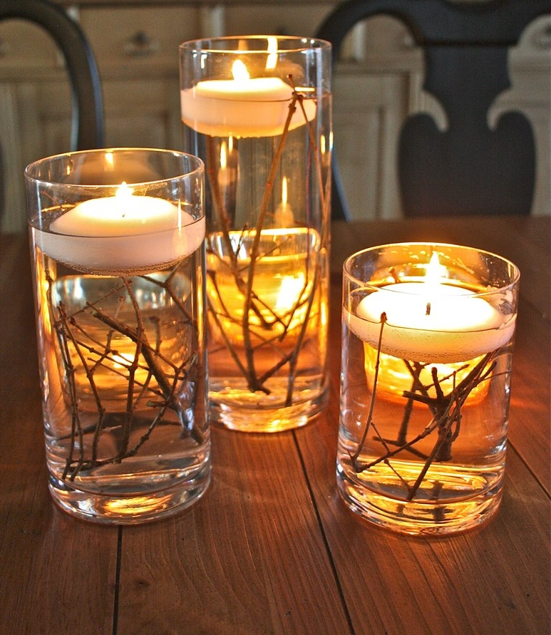 Chic Floating Candles for a Nature-themed Party