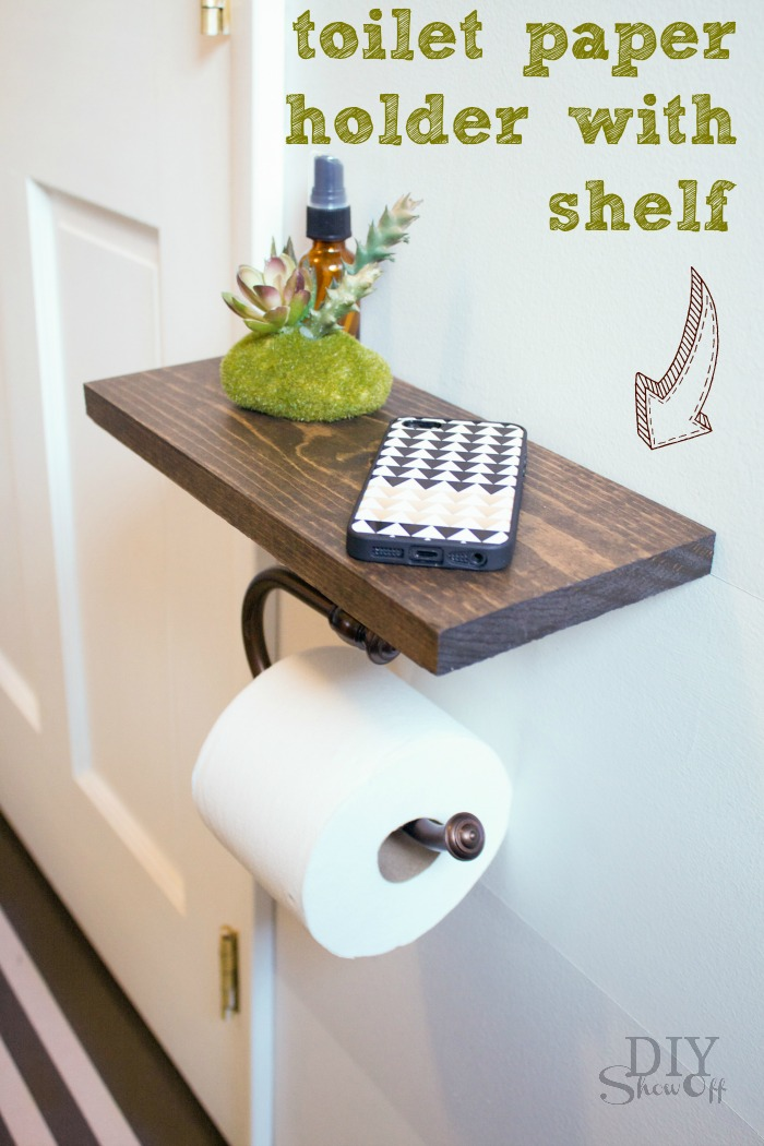 Square Floating Bathroom Shelf. Floating Shelf With Built In Roll Holder