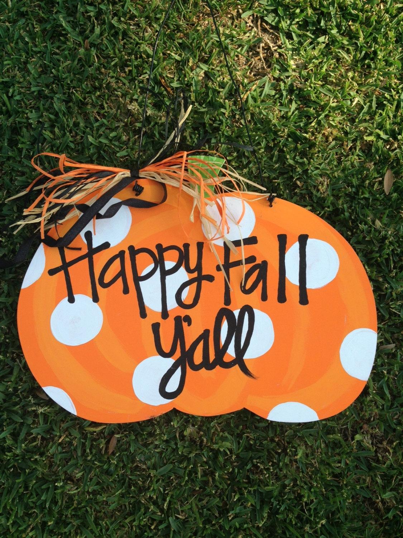 'Happy Fall Y'all' Pumpkin Door Hanger