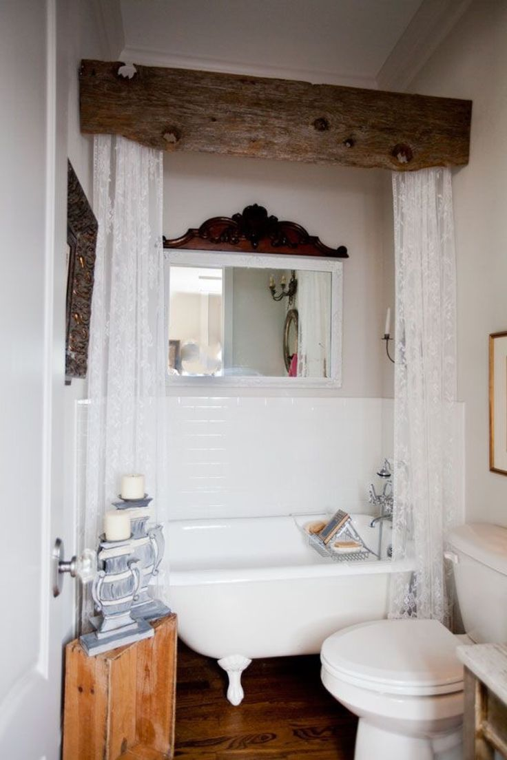 rough beam cornice box for shower curtains - Rustic Bathroom