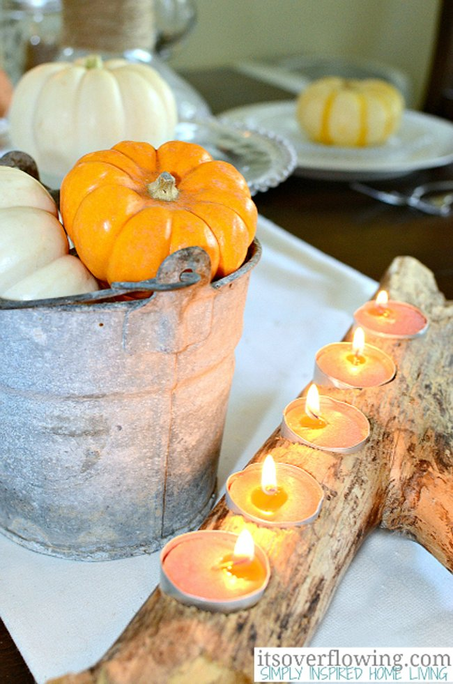 Galvanized Gourd Buckets with Tree Branch Votive Holder