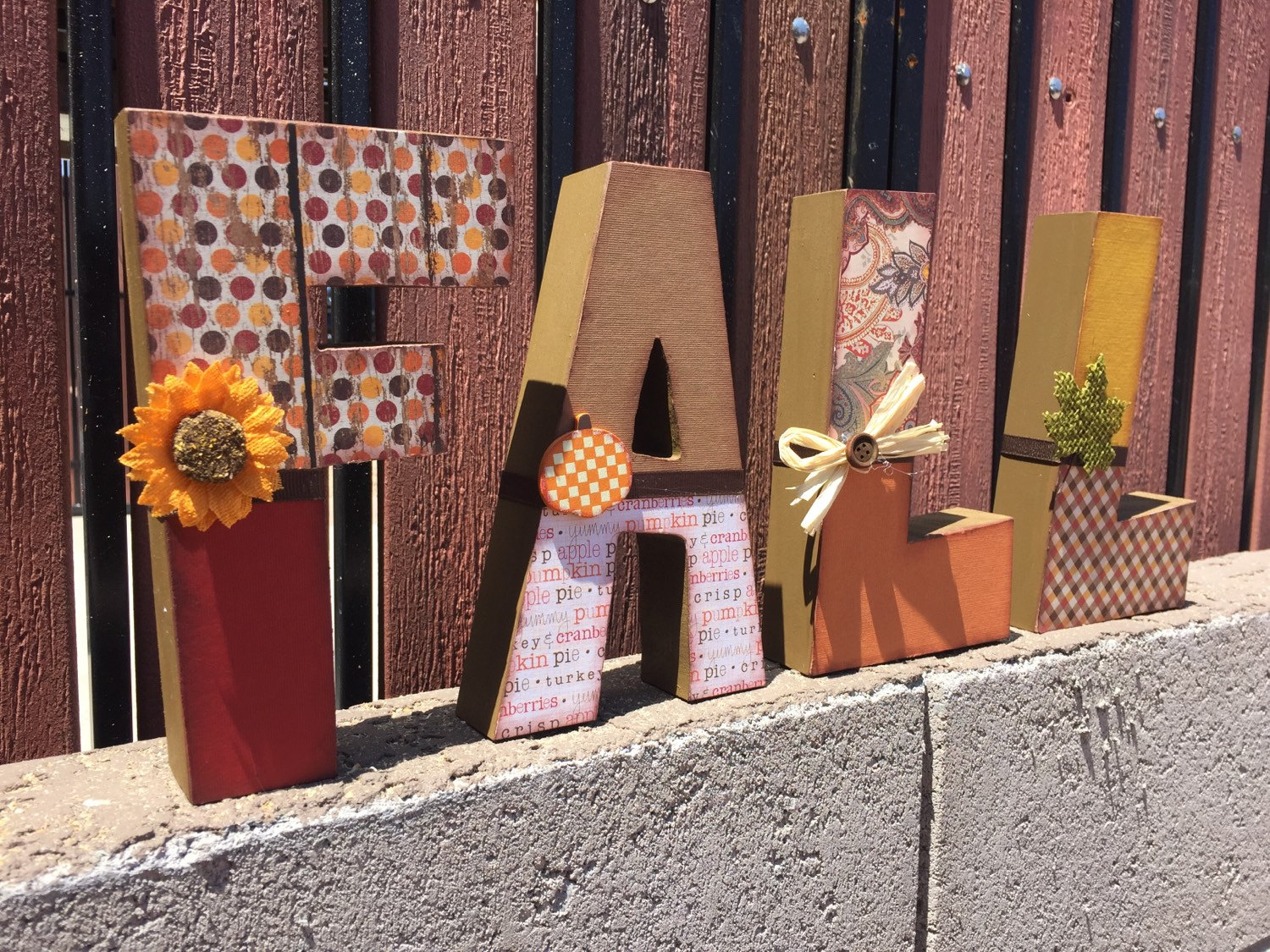 'Fall' Wooden Letter Blocks