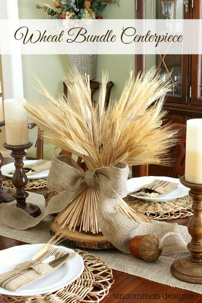Wheat Sheaf Centerpiece with Burlap Bow