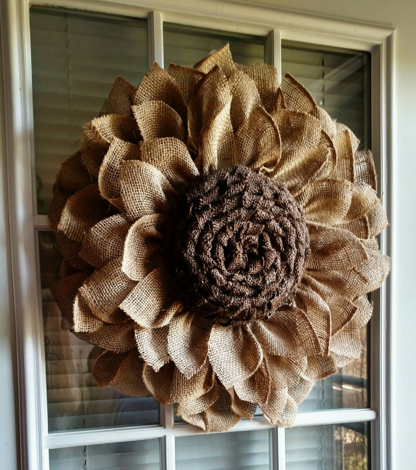 Rustic Burlap Sunflower Wall Hanging