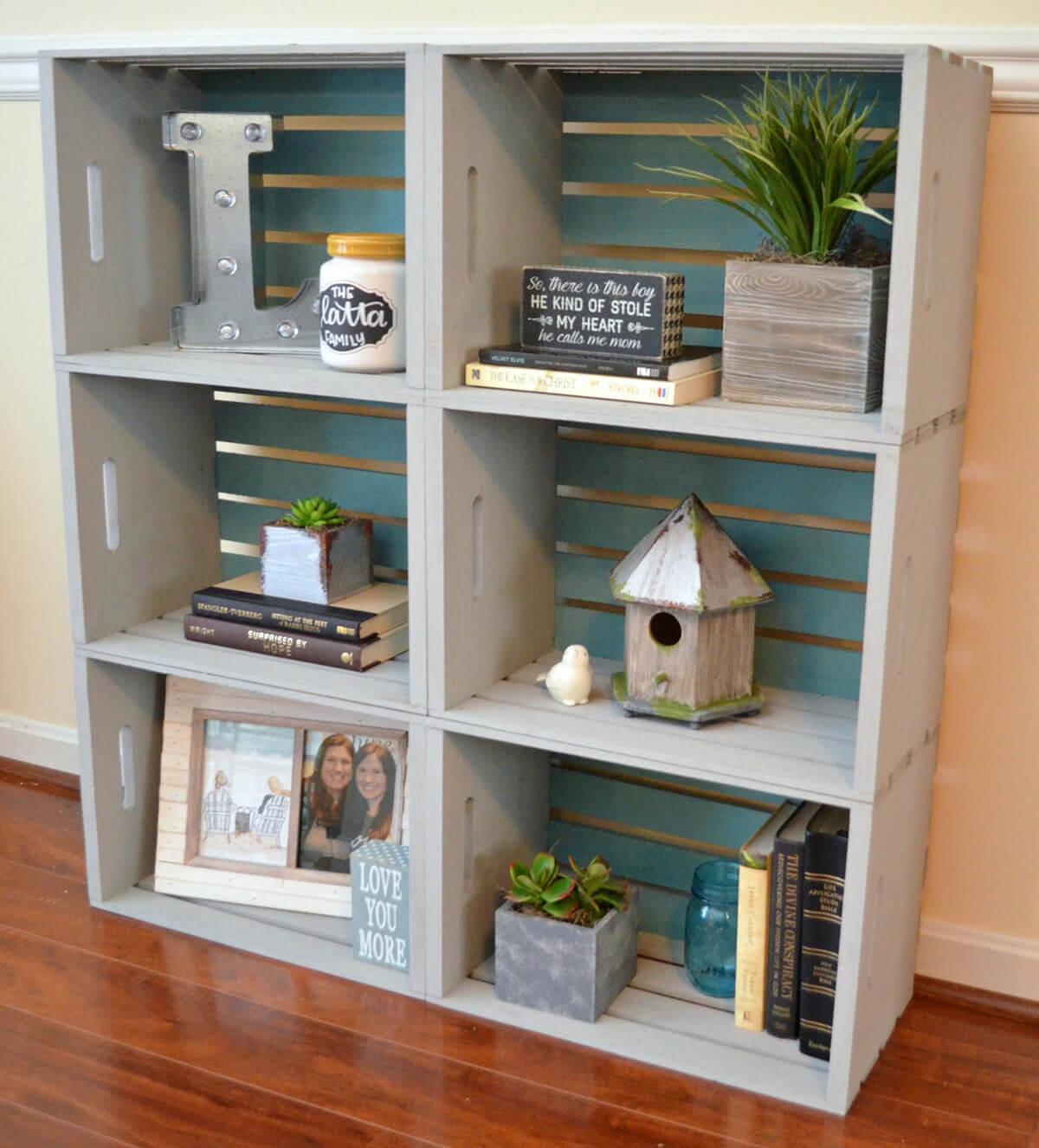 Painted Crates Stylish Bookshelf Tower