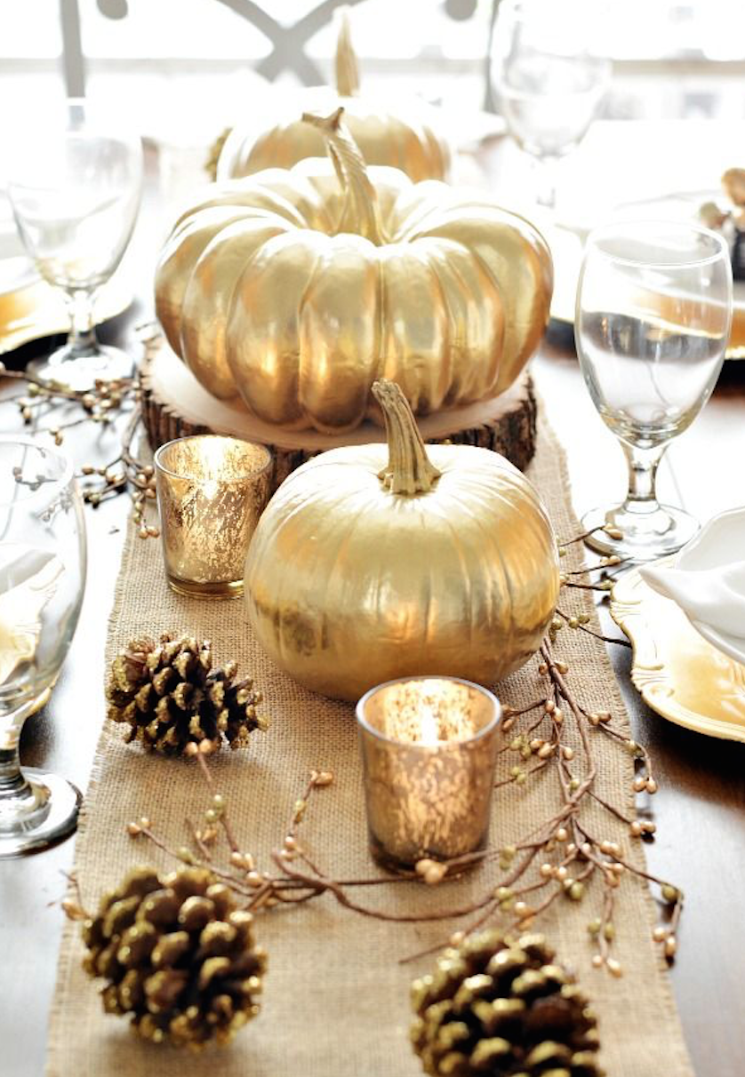 Gold-dipped Mini Pumpkin and Votive Display