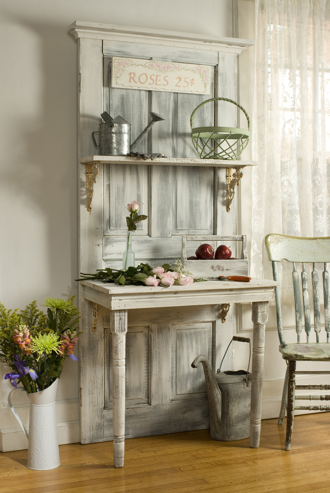 Cottage Chic Shelving on a Whitewashed Door