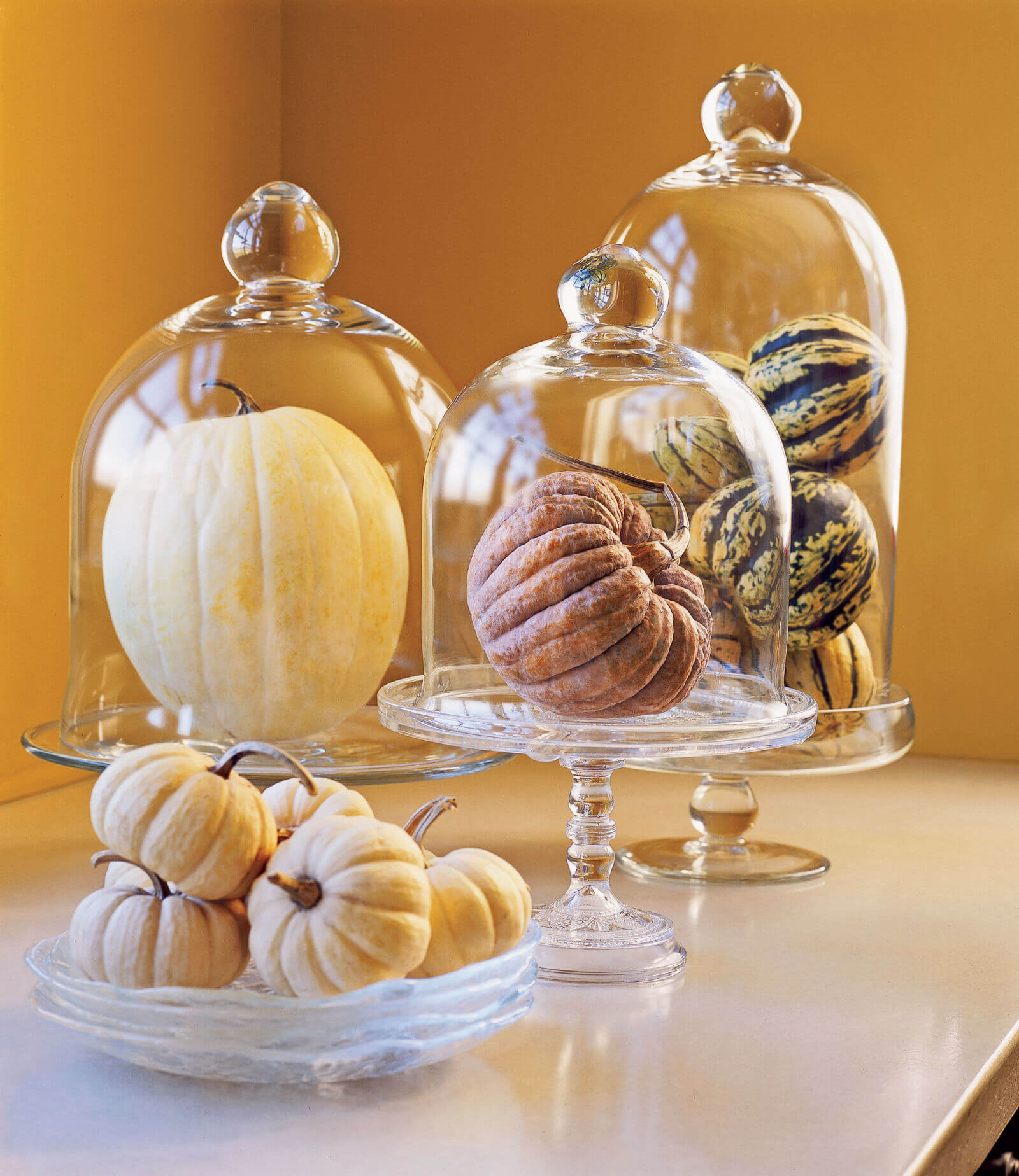 Pinecone and Pumpkin Apothecary Jar Centerpiece