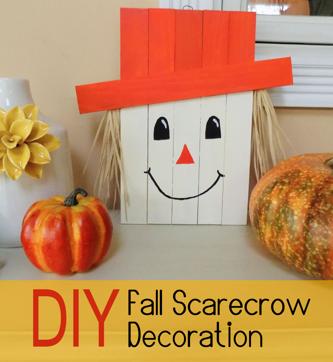 fall diy craft scarecrow welcome crafts wood straw friendly decor autumn makes decorations homebnc fancy bring