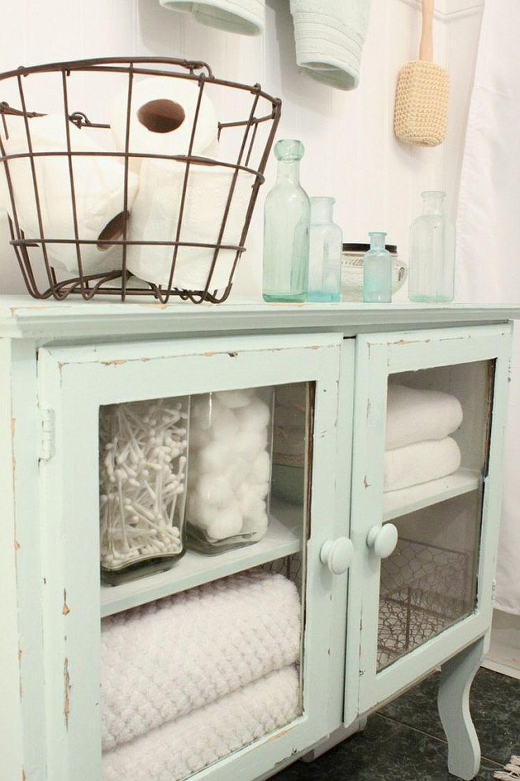 Diy vintage bathroom vanity - Chalk Painted Bathroom Storage Cabinet