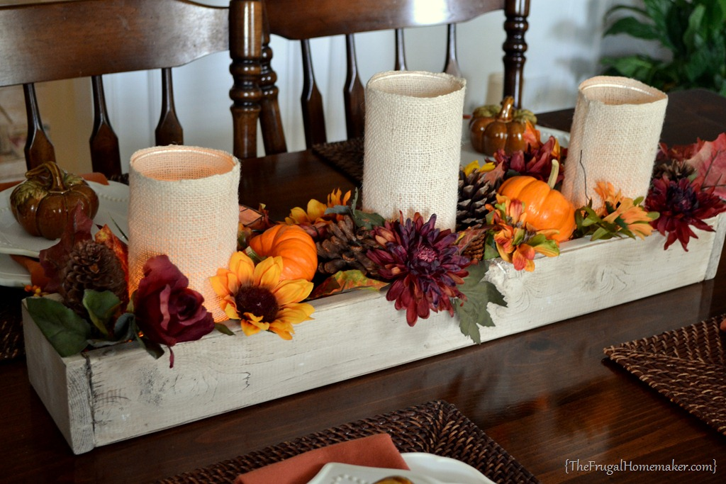 Simple DIY Fall Centerpiece Decoration and Mason Jar Runner Box