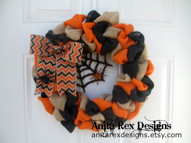 black orange and tan spider halloween wreath - Etsy Halloween Decorations