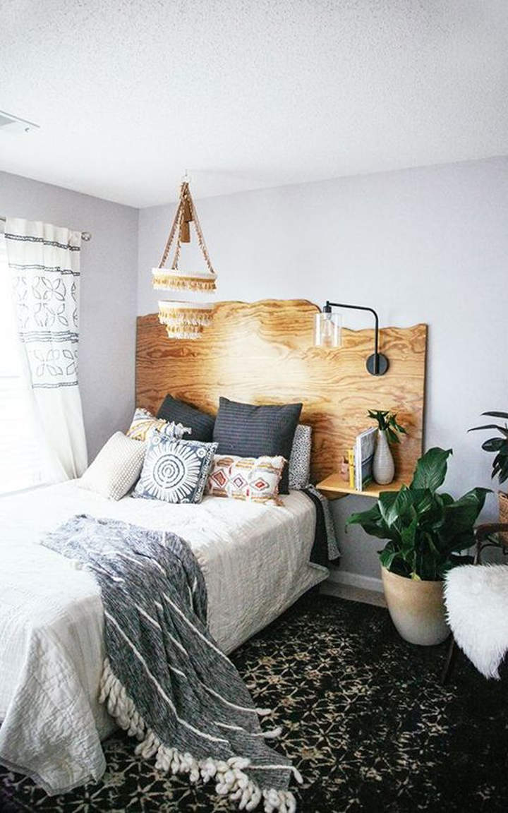 Wooden Headboard and Night Stand Combination