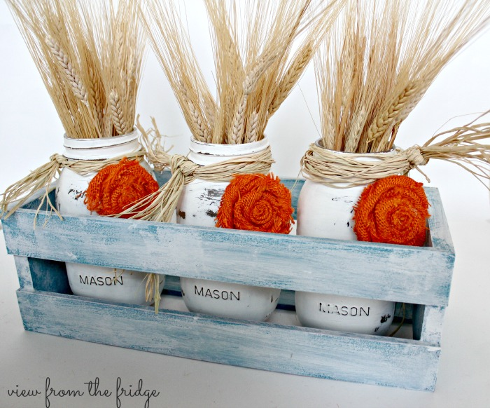Chalk Painted Crate and Jars with Wheat Stalks