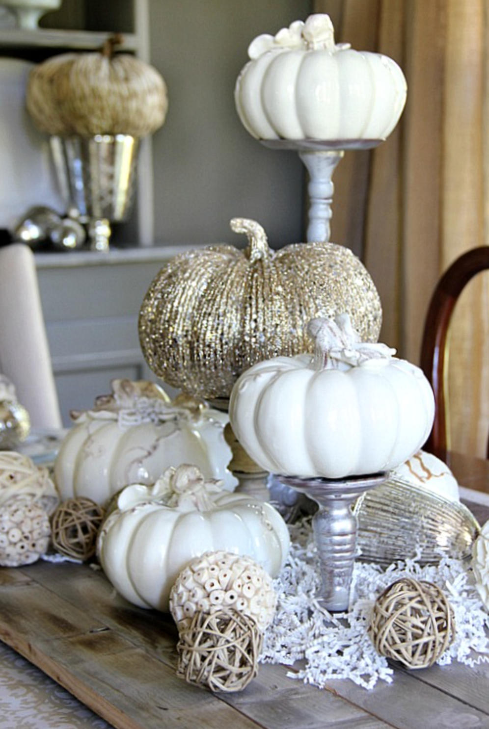 Ceramic Pumpkin Display with Mismatched Candlestick Risers