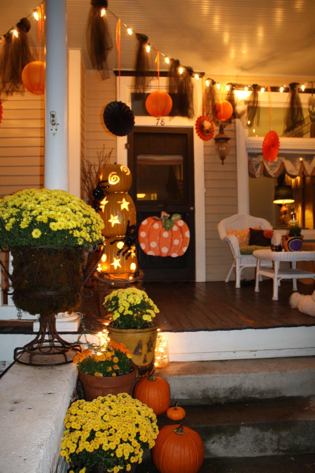 Black Halloween Tree With Orange Lights