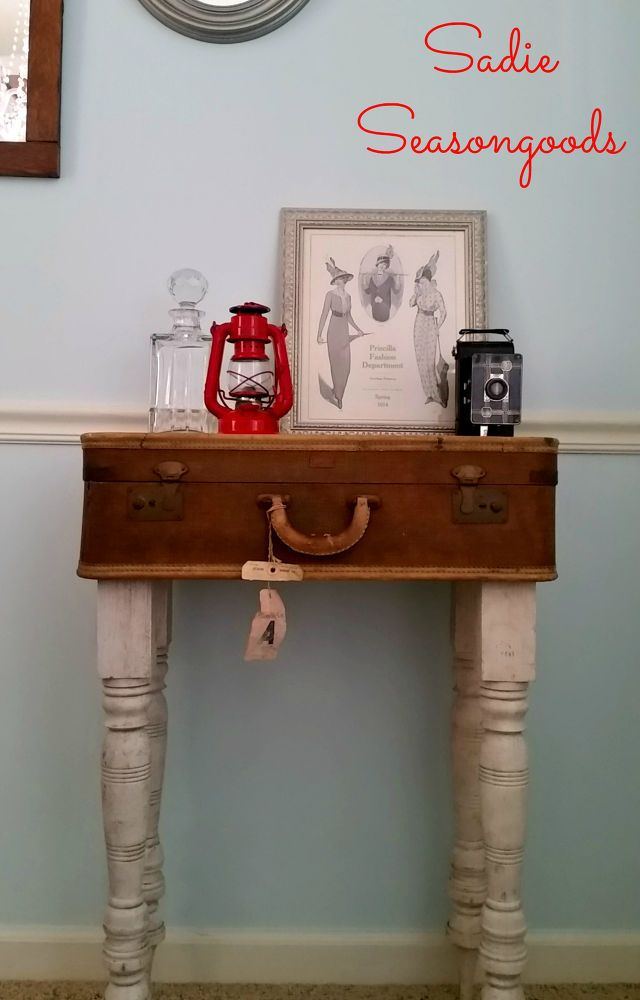 Hall Table from Vintage Luggage and Reclaimed Table Legs