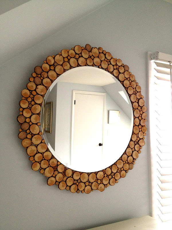 Wood Embellished Mirror on the Wall