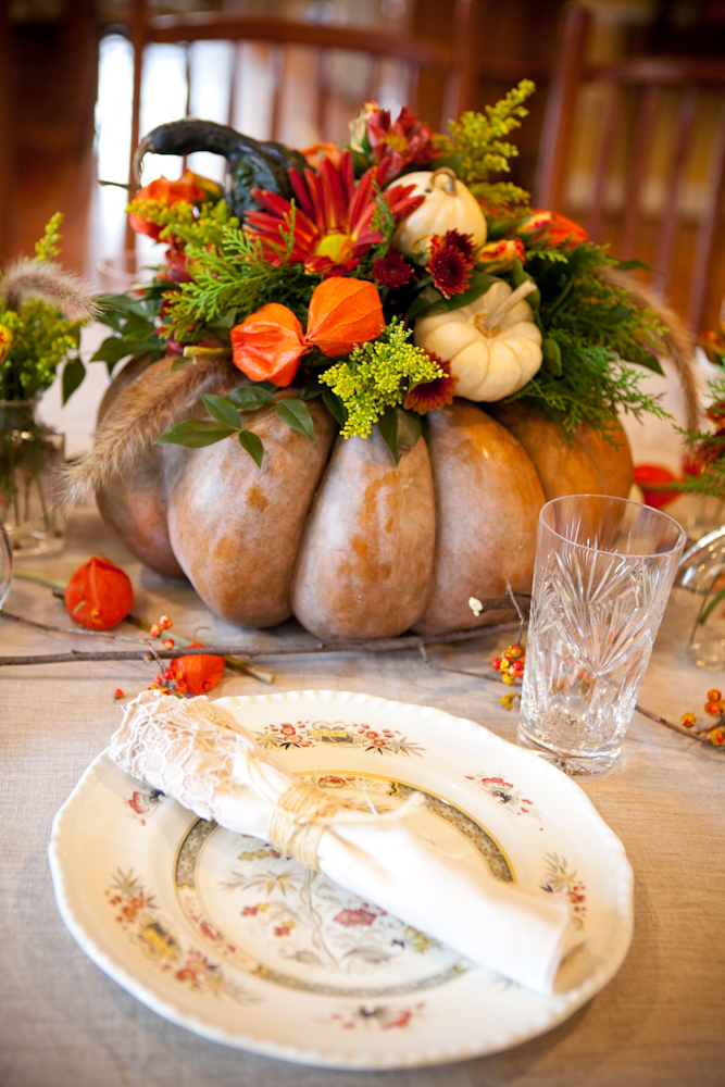 Fall Floral Arrangement in a Faux Gourd Container