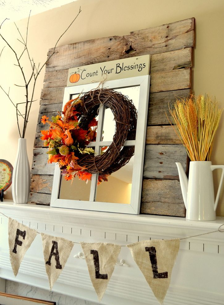 Simple, Rustic and Bright Fall Mantel Decorations