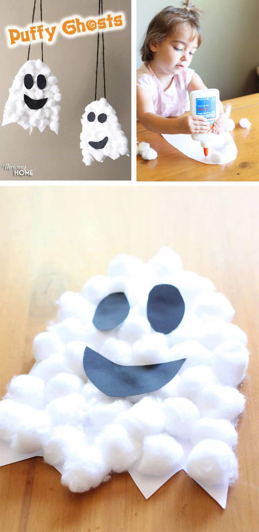 Friendly Cotton Ball Halloween Crafts