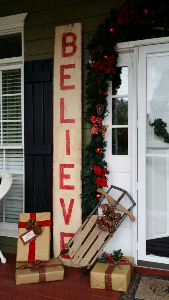 2 rustic wooden holiday sign - Porch Decorating Ideas Christmas